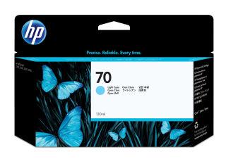 HP 70 original cartouche d encre cyan clair capacité standard 130ml pack de 1
