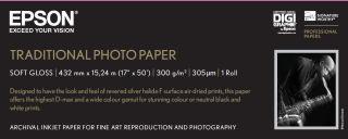 EPSON S045054 Traditional photo  papier inkjet 330g/m2 432mm x 15m 1 rouleau pack de 1