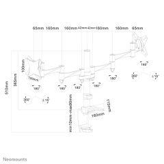 NEWSTAR Flatscreen Desk Mount clamp 2 screens 10-24inch