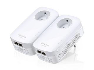TP-LINK AV20002-PortGigabitPassthroughPowerlineStarter Kit 2000Mbps Powerline Data Rate Line-Neutral/Line-Ground 2x2 MIMO 2