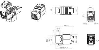 DIGITUS Prise Jack Keystone CAT6A DIGITUS blindée réintégrée 500MHz conforme à ISO/IEC 11801:2002 AM2:2009/09 sans outil Montage