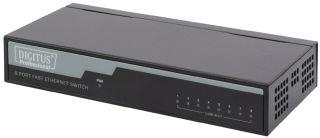 DIGITUS 8-Port Fast Ethernet Desktop Switch 10/100Base-TX 8ports Boîtier en métal sans ventilateur