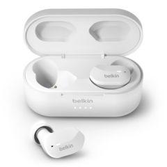 BELKIN Écouteurs sans fil avec étui de chargement. inclus câble Micro-USB et 3 paires d embouts d oreille en silicone Blanc