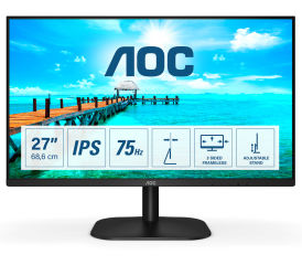 AOC 27B2DA 27p IPS FHD 1920x1080 16:9 250nits 75Hz 1000:1 4ms HDMI1.4 VGA DVI Headphone out Black Cable included