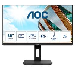 AOC U28P2A 28p IPS UHD 23840x2160 16:9 1000:1 300cd/m2 178/178 4ms Pivot 2xDP 2xHDMI AdaptiveSync USB HUB SPEAKERS VESA 100x100
